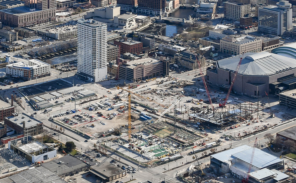 Aerial view of the in progress construction of the Block 7 Parking Garage