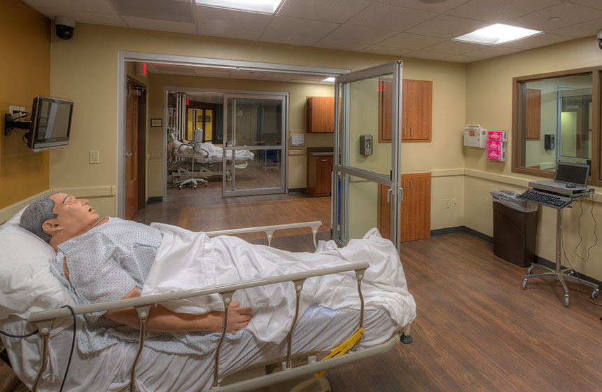 patient room with practice patient