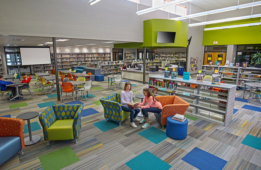 view overlooking the entire library with students reading