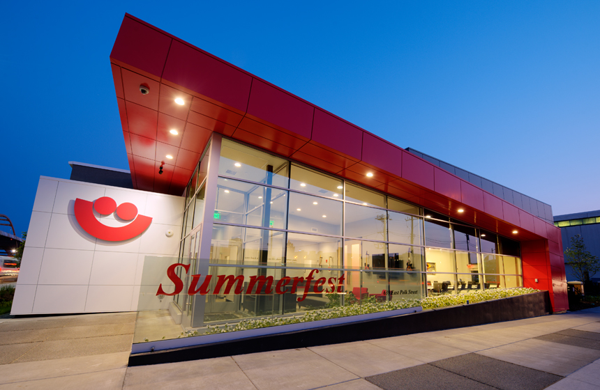outside view of building with Summerfest logo