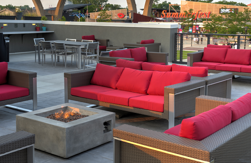 view of outside area with red couches
