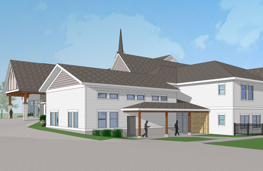 Computer rendering of white church