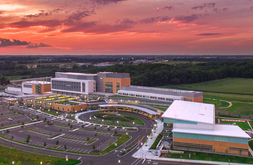 View of health center from the sky at dusk