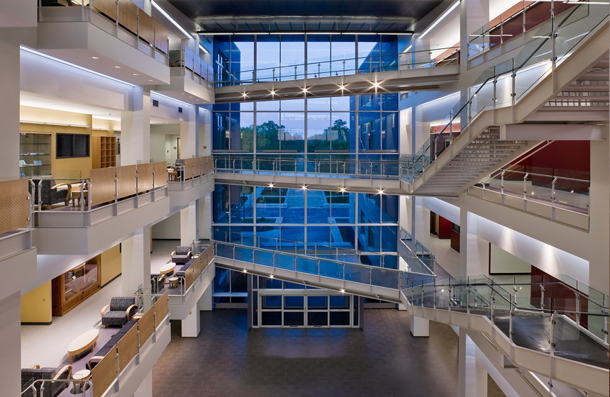 overview of atrium with multiple floors