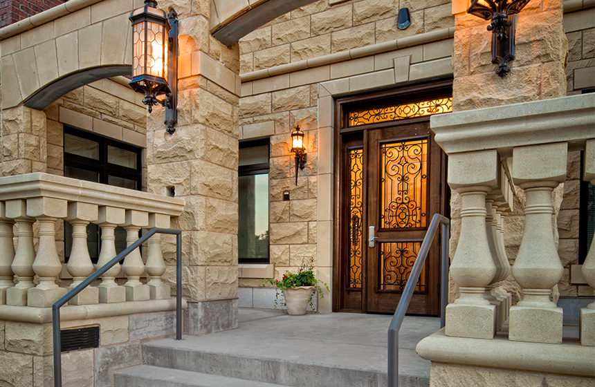 Entry to apartment complex, cream colored stone