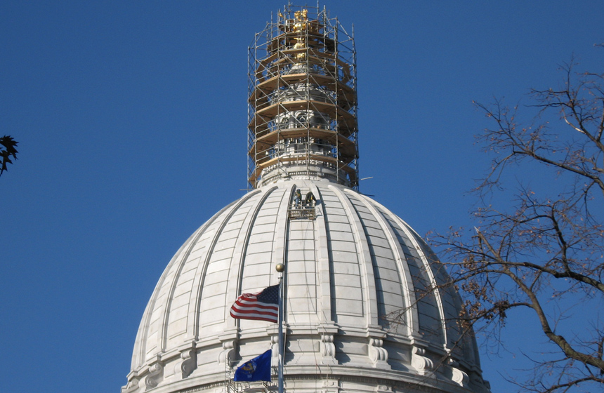 top point of dome being worked on