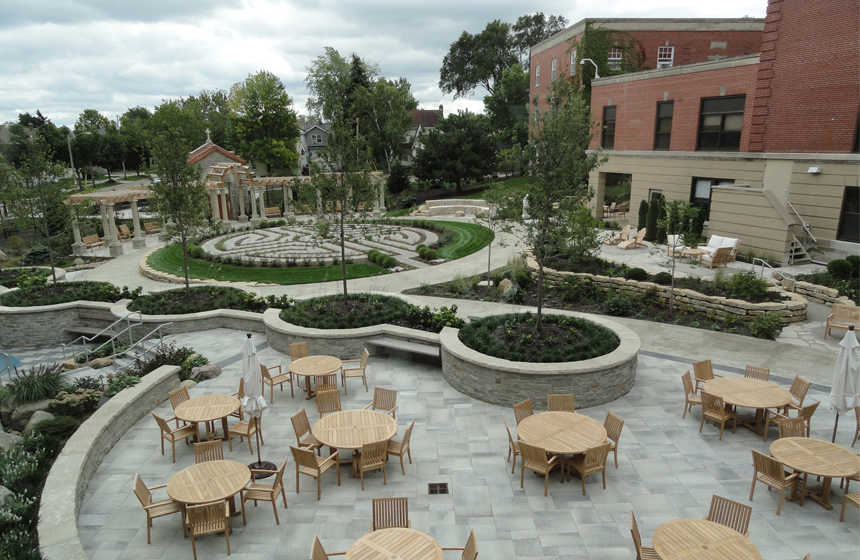 Healing garden - tables, chairs and maze