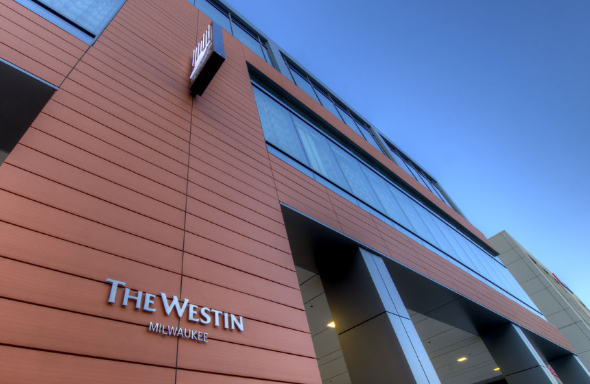 "view of ""The Westin"" sign at the front"
