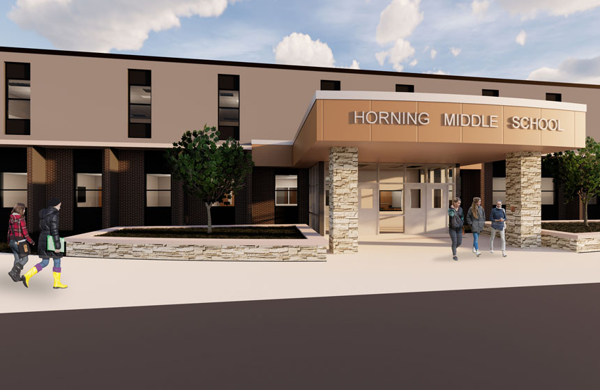 School District of Waukesha Horning Elementary Exterior Rendering