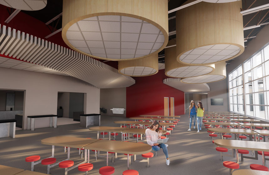 School District of Waukesha Les Paul Elementary Cafeteria Rendering