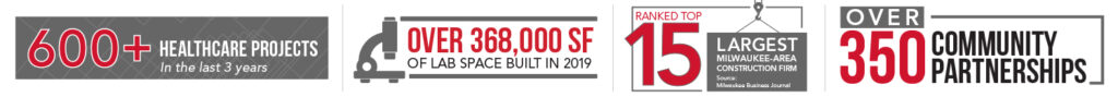 600 plus healthcare projects, over 368,000 square feet of lab space built, ranked top 15 largest milwaukee construction firm, over 350 community partnerships