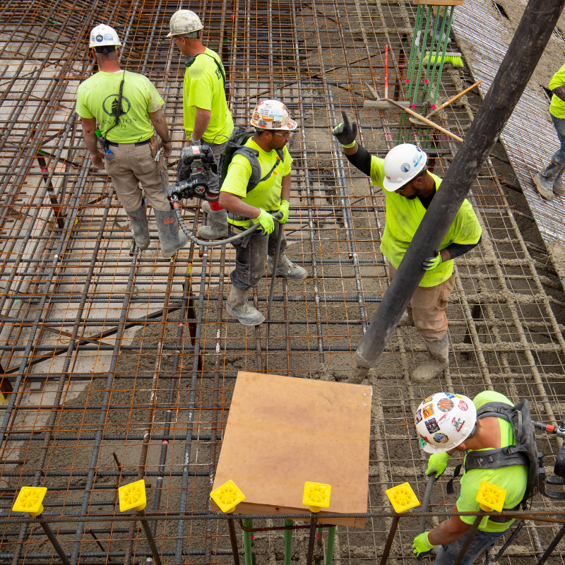 Findorff concrete workers pouring a foundation