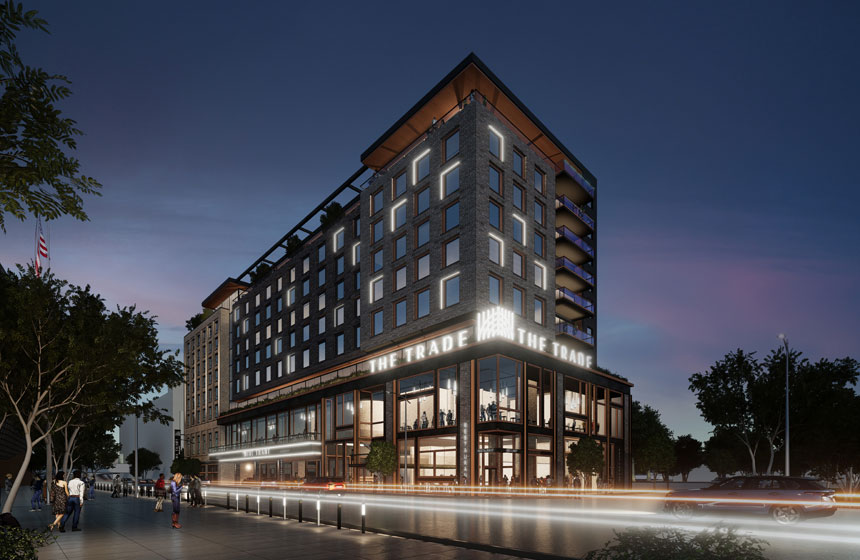 The Trade Milwaukee Exterior at Dusk Rendering